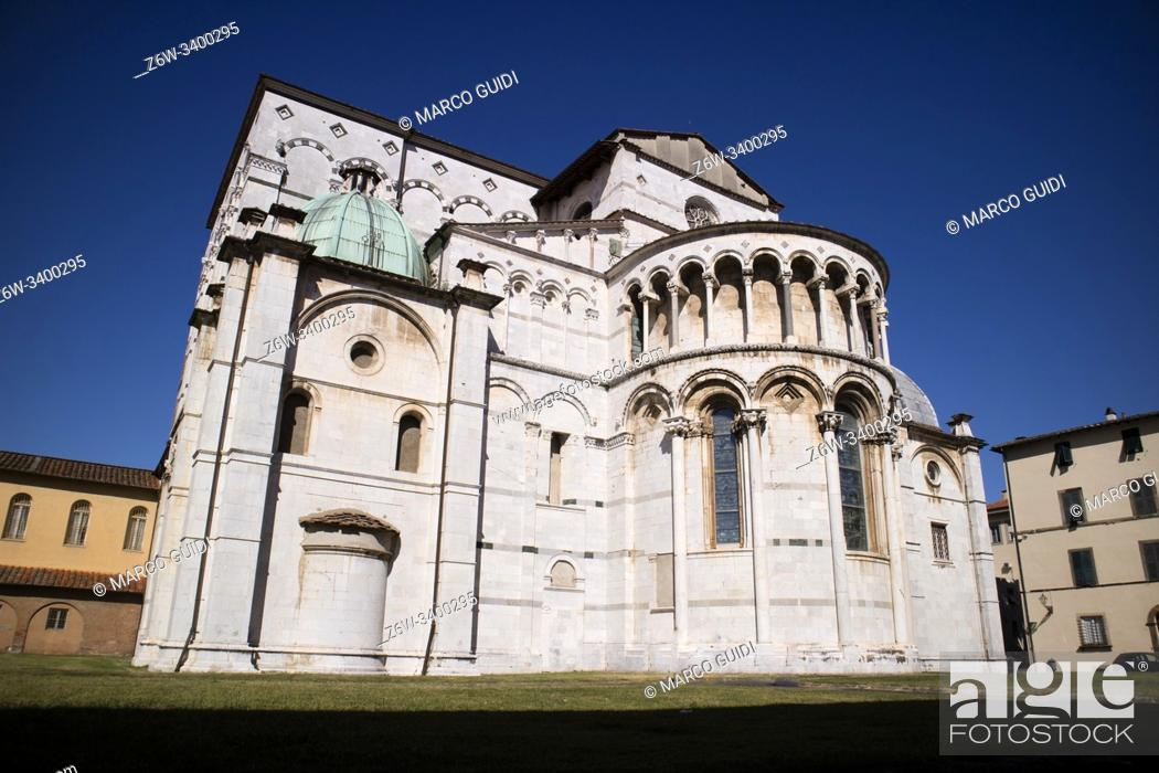 Stock Photo: Exterior view of the Cathedral of San Martino in Lucca Tuscany Italy.