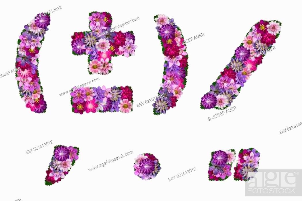 Stock Photo: blumen alphabet satzzeichen.