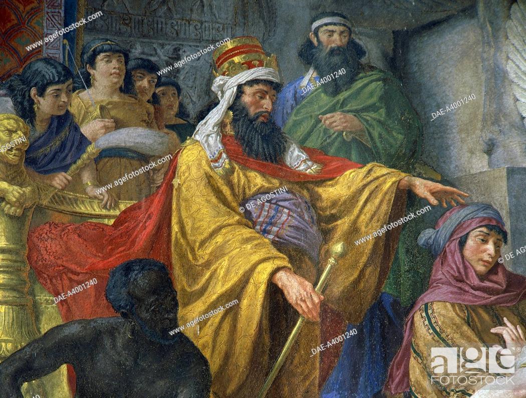 Stock Photo: King Ahasuerus of Persia, 1876, fresco by Cesare Mariani (1826-1901), Church of San Salvatore in Onda, Lazio, Rome, Italy.