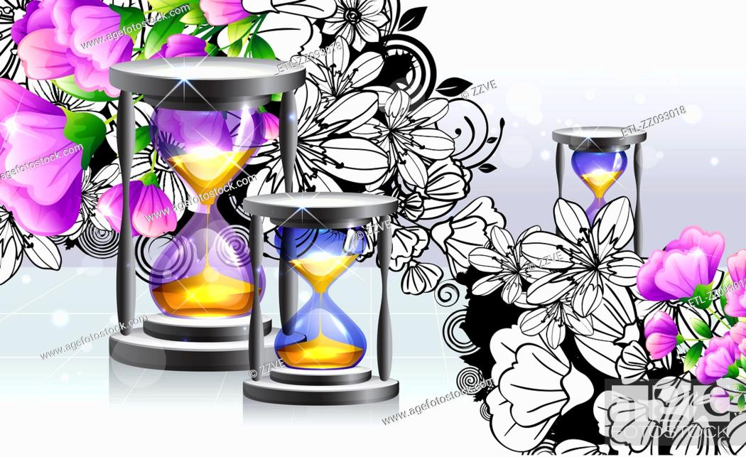 Stock Photo: Hourglass with flora design.