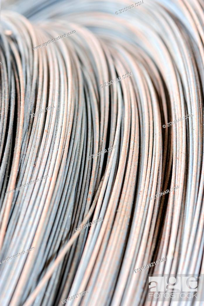 Stock Photo: hank of metal wire, selective focus, usable as background.