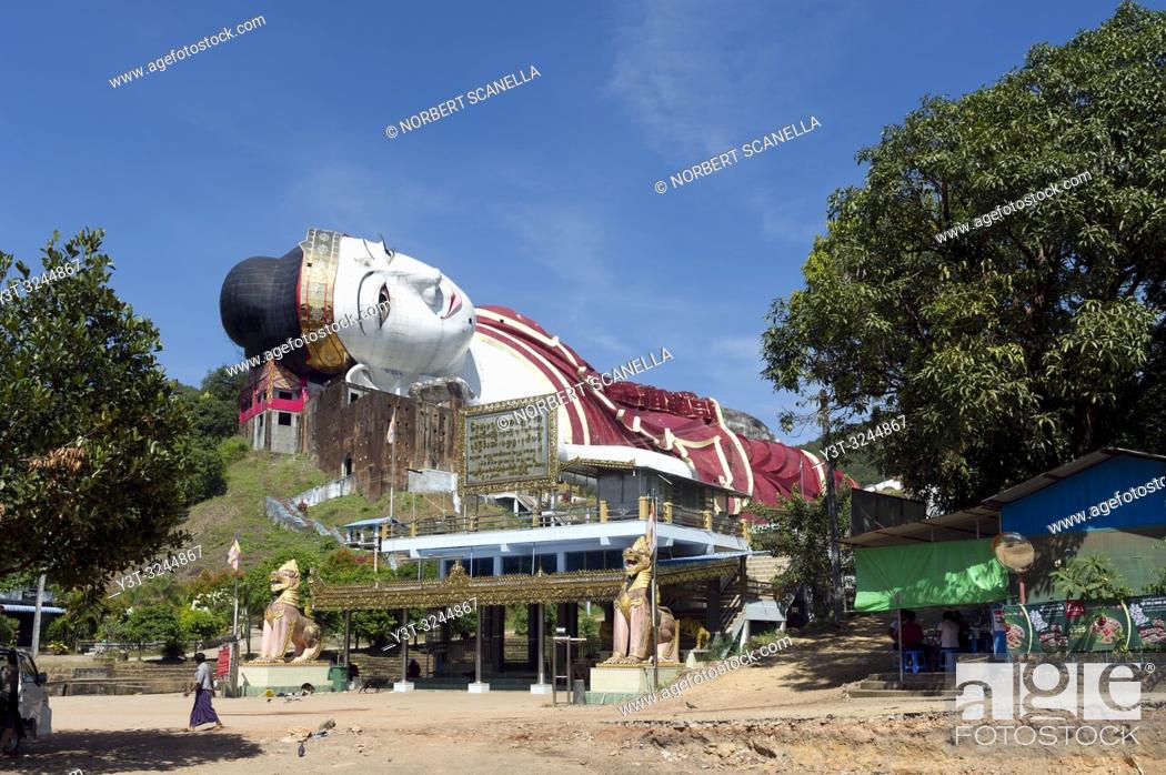 Stock Photo: Myanmar (formerly Burma). Mon State. Yadana Daung Mawlamyine (Moulmein) surroundings, Win Sein Taw Ya temple, World's largest reclining Buddha.