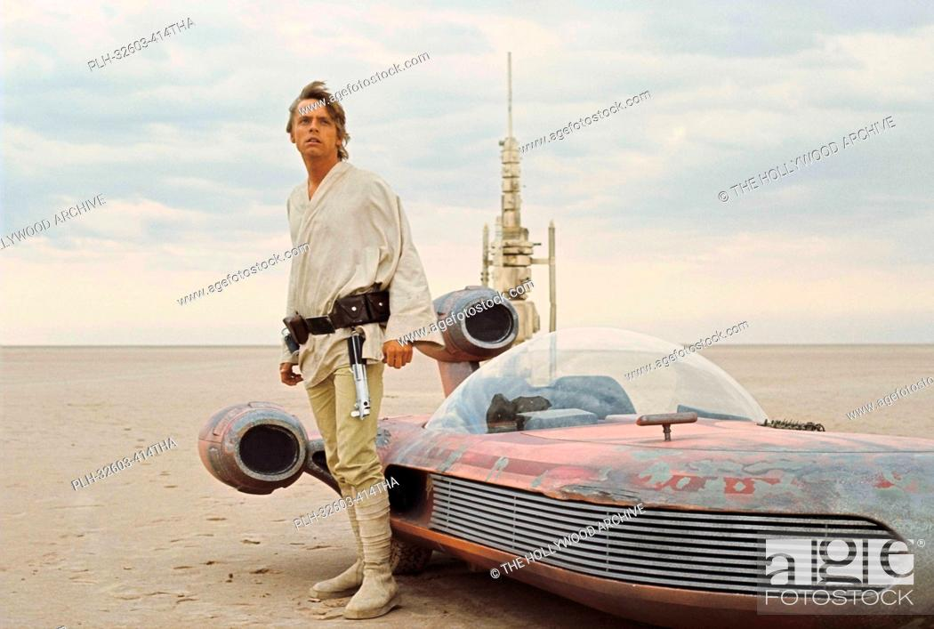 Stock Photo: Mark Hamill with landspeeder in Tunisia in Star Wars Episode IV: A New Hope (1977).