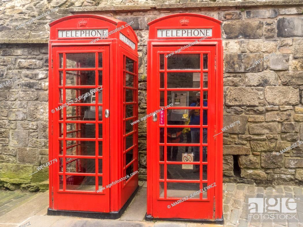 Stock Photo: Red telephone box is a telephone kiosk for a public telephone designed by Sir Giles Gilbert Scott, was a familiar sight on the streets of the United Kingdom.