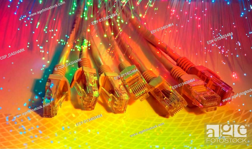 Stock Photo: fiber optical network cable.