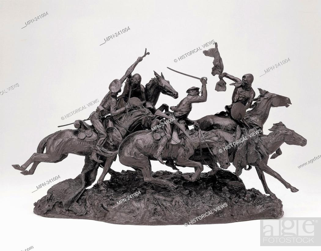 Stock Photo: The Old Dragoons of 1850 - modeled 1905, cast 1906/7 - Frederic Remington American, 1861-1909 Cast by Roman Bronze Works American.
