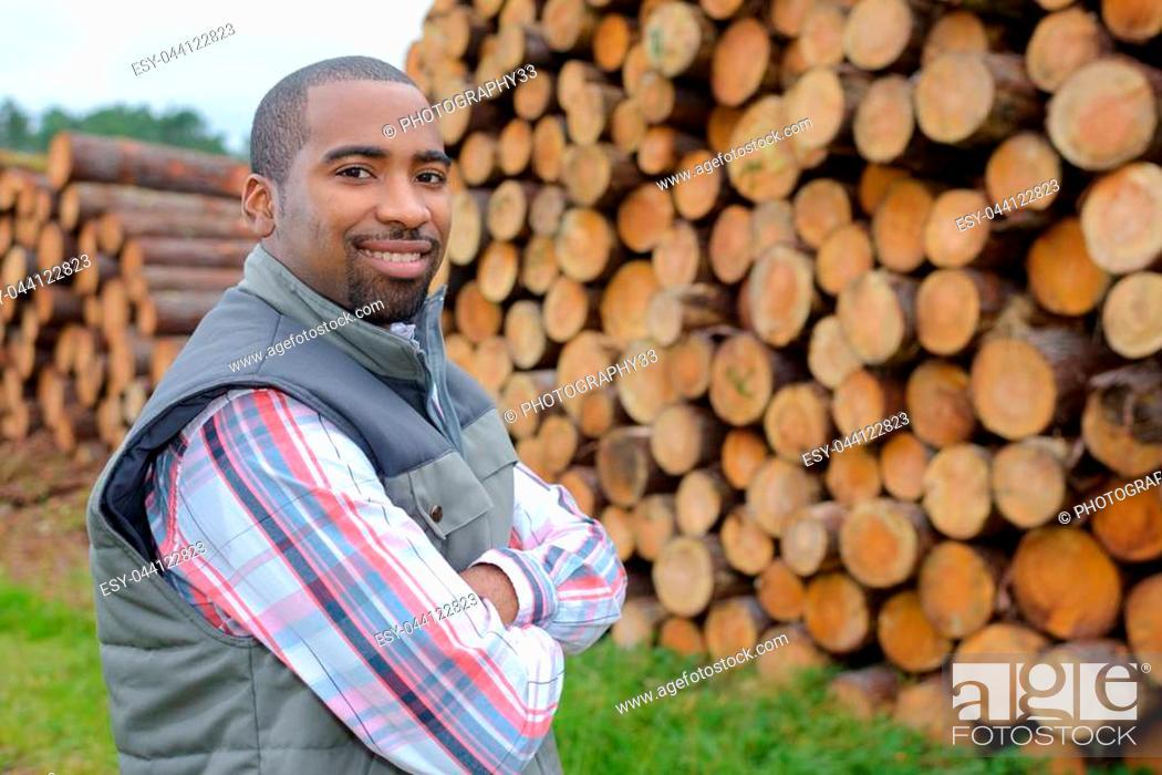 Stock Photo: posing in the lumberyard.