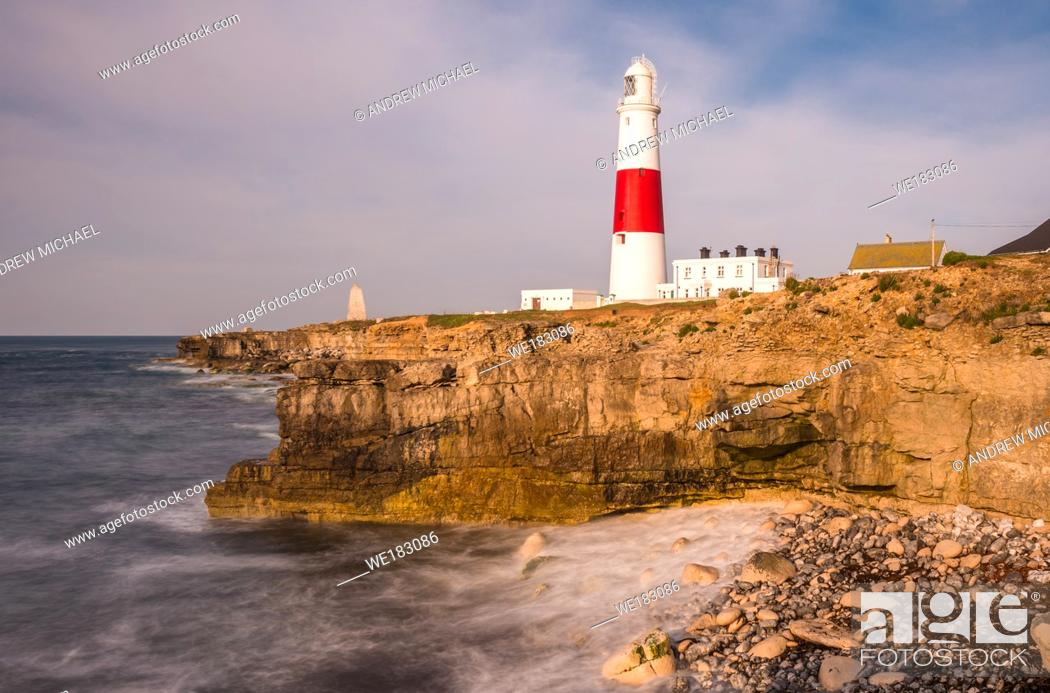Stock Photo: The lighthouse at Portland Bill on the Isle of Portland near Weymouth on Dorset's Jurassic Coast. England. UK.