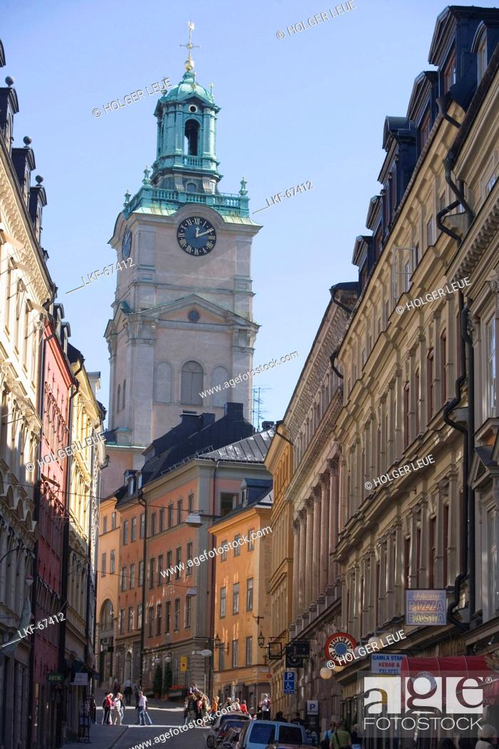 Stock Photo: Gamla Stan Old Town and Storkyrkan Church, Stockholm, Sweden.