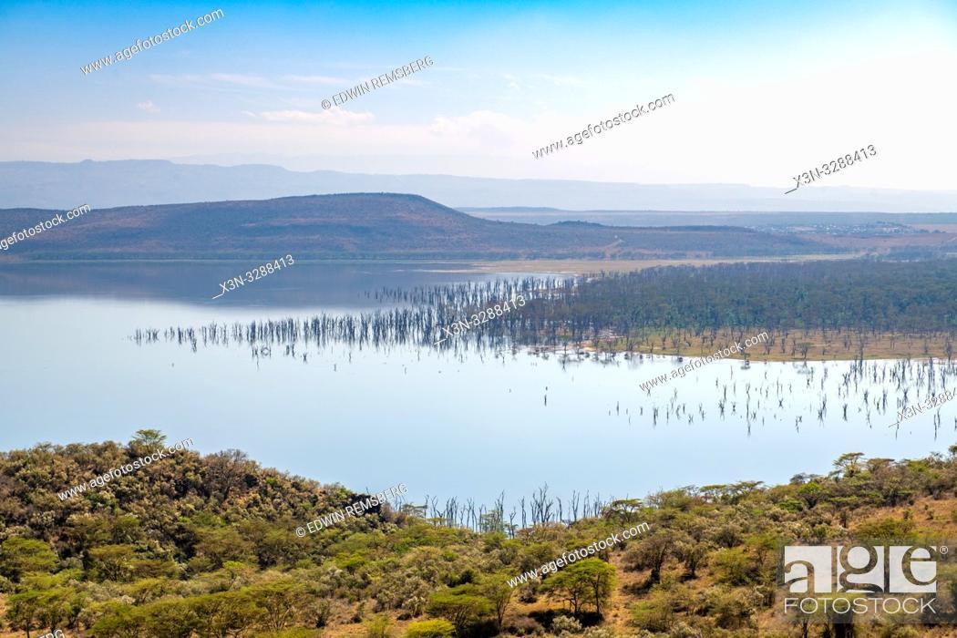 Stock Photo: A landscape view of Lake Nakuru National Park from Baboon Cliff, Kenya.