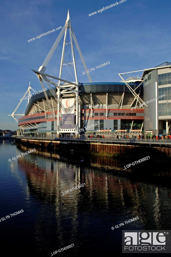 Stock Photo: Wales, Glamorgan, Cardiff, The iconic Millennium Stadium on the riverside in Cardiff.