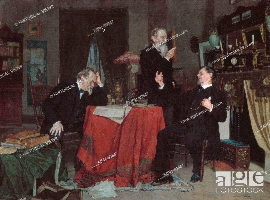 Stock Photo: A Discussion. Artist: Louis Moeller (1855-1930); Date: ca. 1890-95; Medium: Oil on canvas; Dimensions: 18 x 24 3/16in. (45.7 x 61.