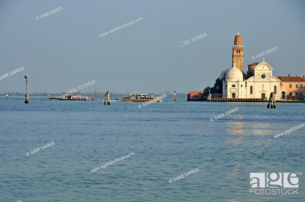 Stock Photo: Vaporetto shuttles by chuch on Venice lagoon, Venice, Italy.