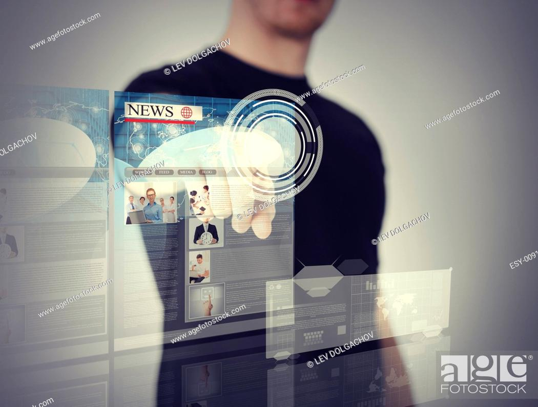 Stock Photo: business, technology, internet and networking concept - man pressing button on virtual screen.