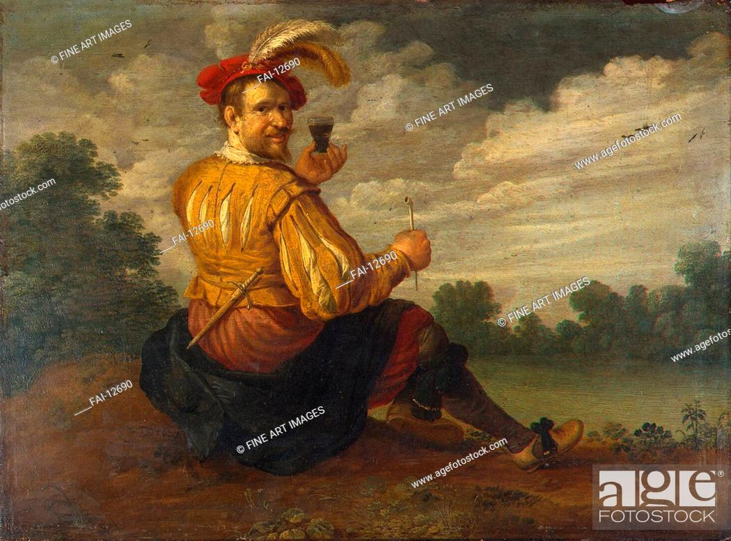 Stock Photo: Self-Portrait in a Landscape. Droochsloot, Jost Cornelisz (1586-1666). Oil on wood. Baroque. 1627. State Hermitage, St. Petersburg. 37,5x50,5.
