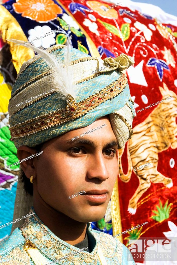 Man In Traditional Rajasthani Royal Dress Jaipur Rajasthan India
