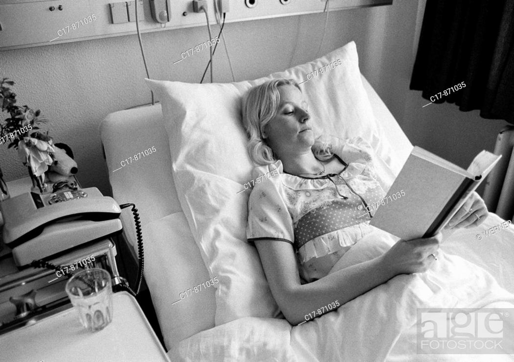 Stock Photo Eighties Black And White People Health Young Woman Lies In A Sickbed Of Hospital Reading Book Aged 30 To 40 Years Elisabeth