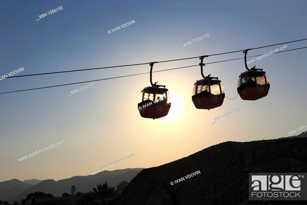 Stock Photo: Cable car to the mount of Qarantul, Jericho, Israel.