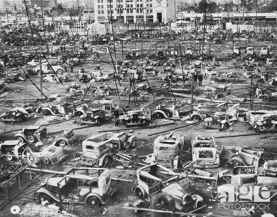 Stock Photo: Los Angeles, California: 1932.A junkyard on LA's salvage yard row.