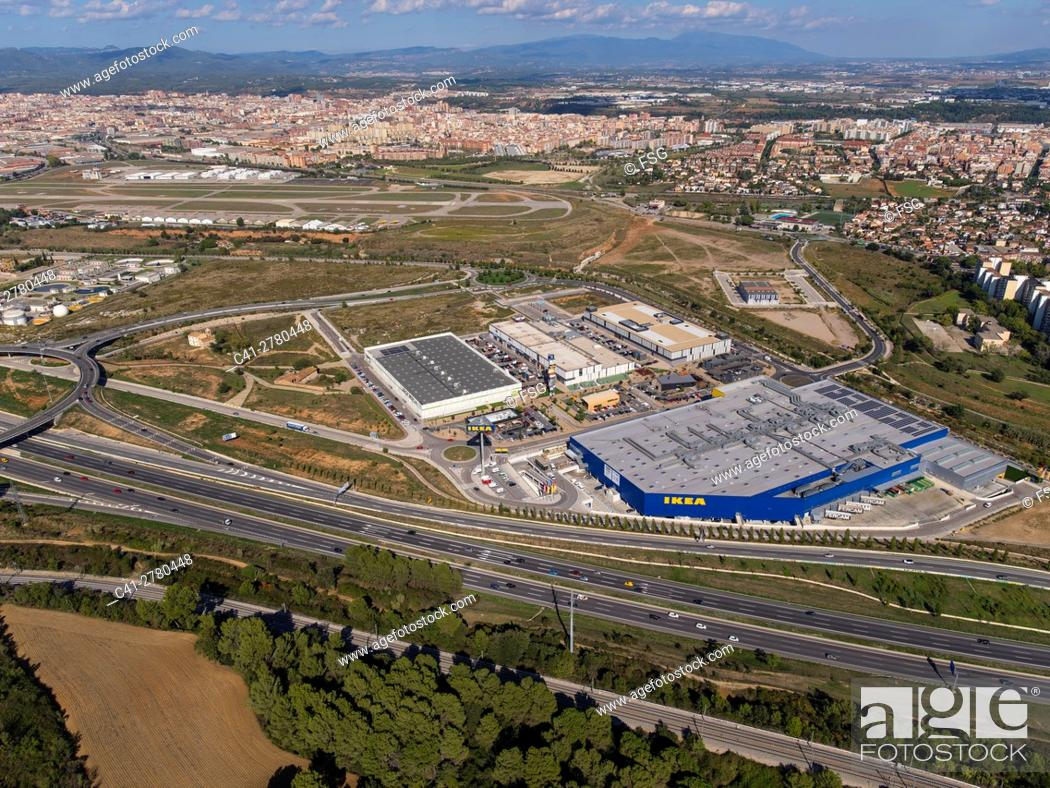 Stock Photo: C-58 Highway and Commercial Center in Sabadell, Barcelona.