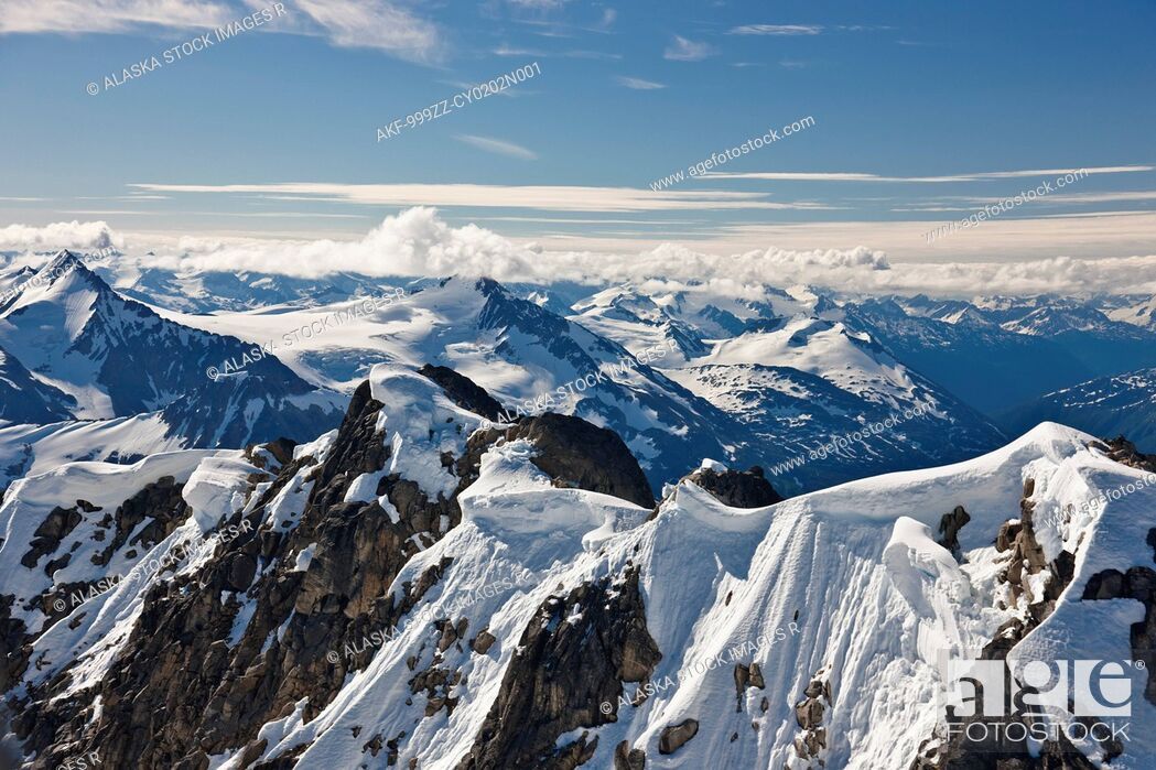 Stock Photo: Aerial view of mountains and glaciers in the Coastal Mountain Range north of Haines, Southeast Alaska, Summer.