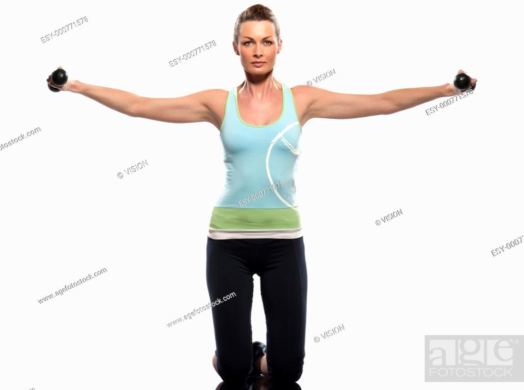 Stock Photo: woman exercising workout on white background with weights.