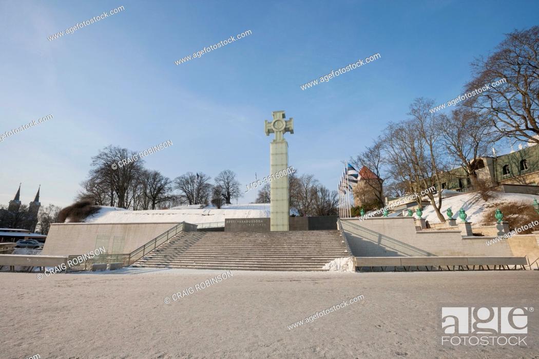 Stock Photo: Freedom Monument and Freedom Square, Tallinn, Estonia, Europe.