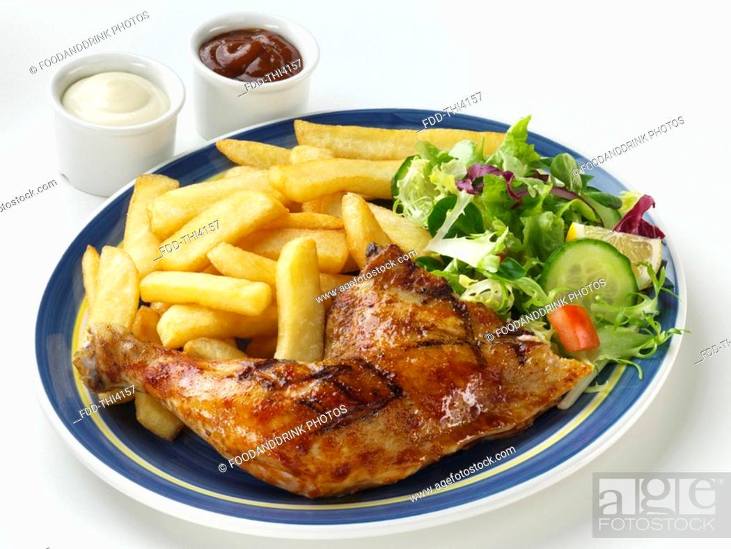 Stock Photo: Chicken Leg, Chips & Salad.