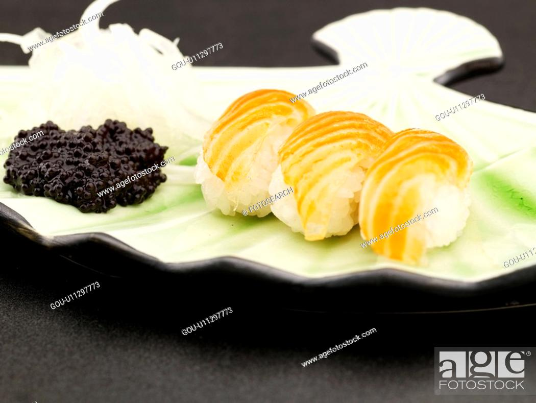 Stock Photo: food, plate, salmon, decoration, food styling, cuisine, sushi plate.