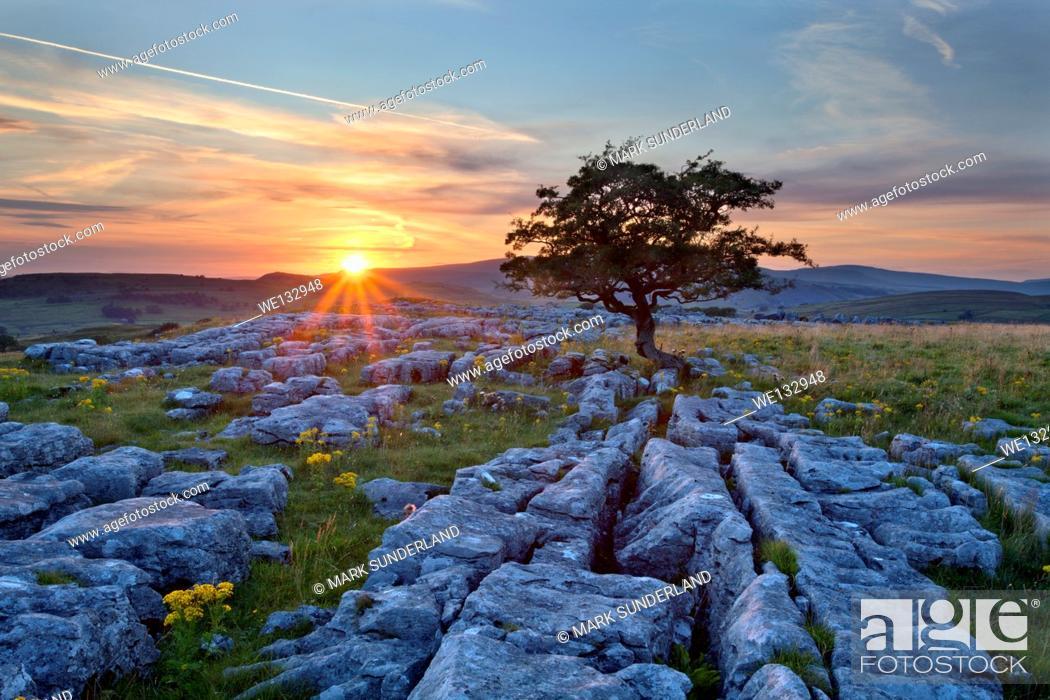 Stock Photo: Sunset at Winskill Stones.