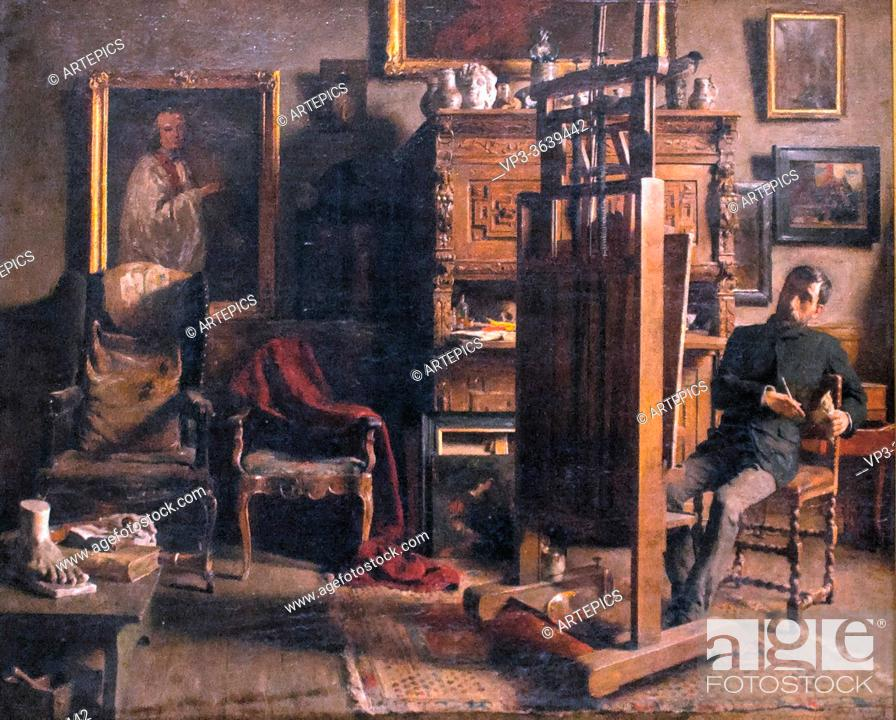 Imagen: Mertens Charles - the Studio of the Painter Jules Lambeaux - Belgian School - 19th Century.