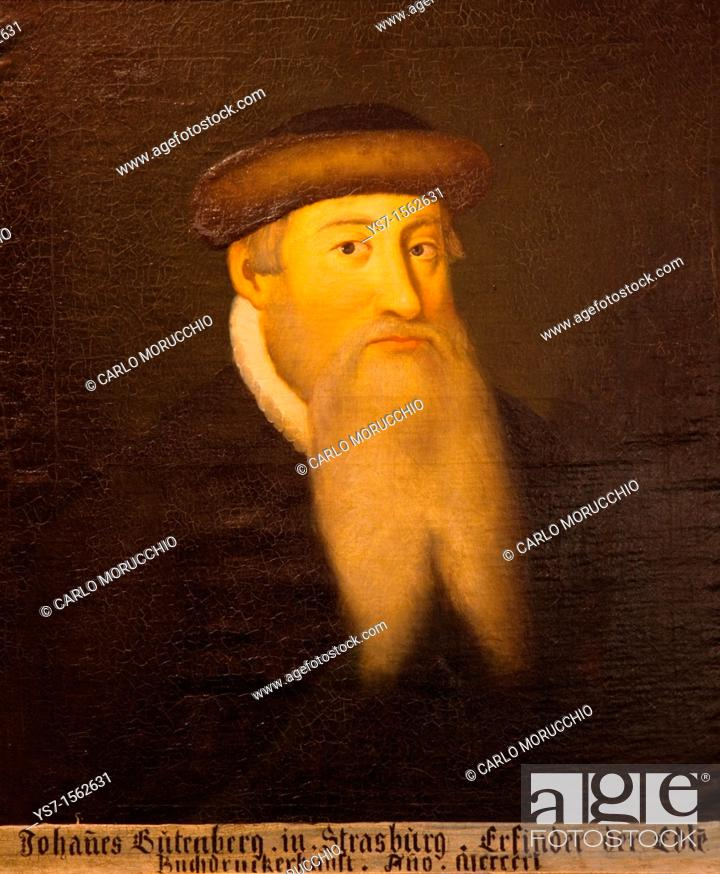Stock Photo: Gutenberg portrait, oil on canvas at Gutenberg museum in Meinz, Germany, Europe.