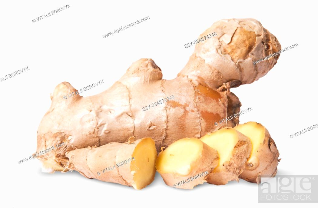 Stock Photo: Sliced and whole ginger root isolated on white background.