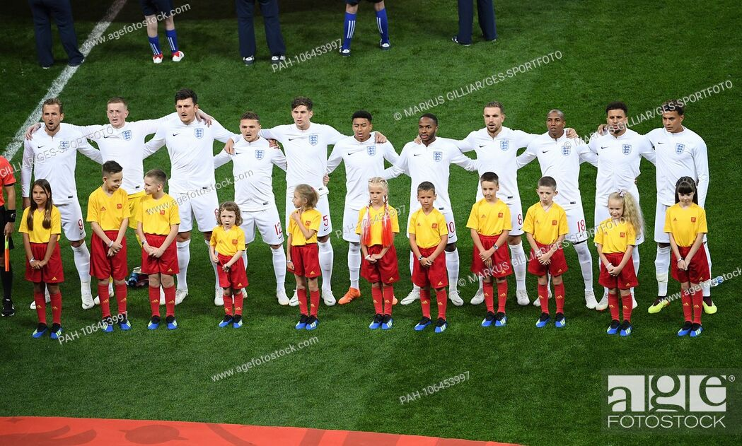 England players team up at the National Anthem, from left to right