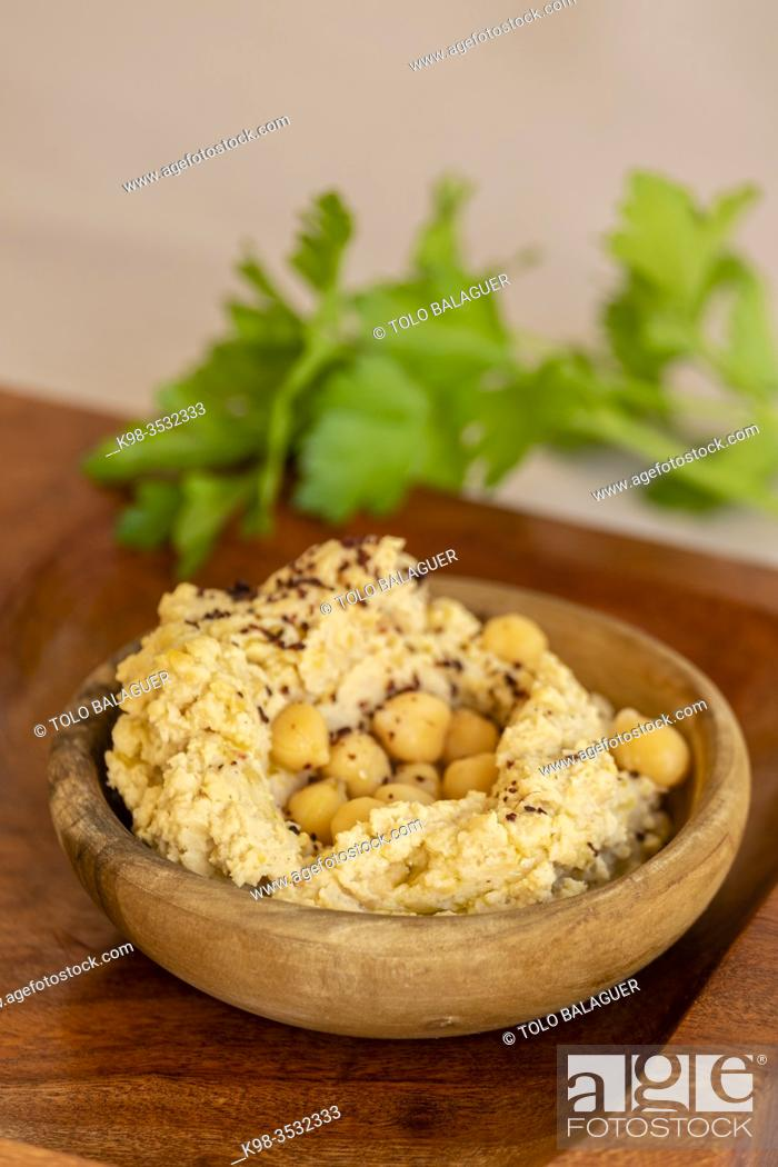 Stock Photo: hummus, chickpea puree cream, Spain.