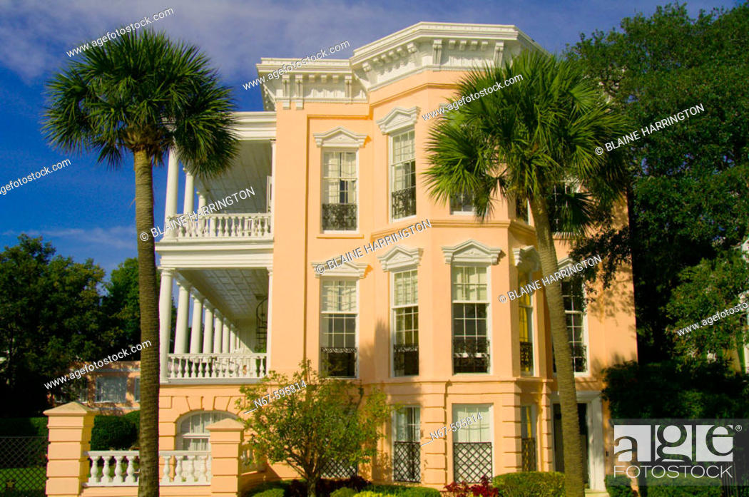 Stock Photo: Antebellum houses on East Bay Street, the Battery, in the historic district of Charleston, South Carolina.