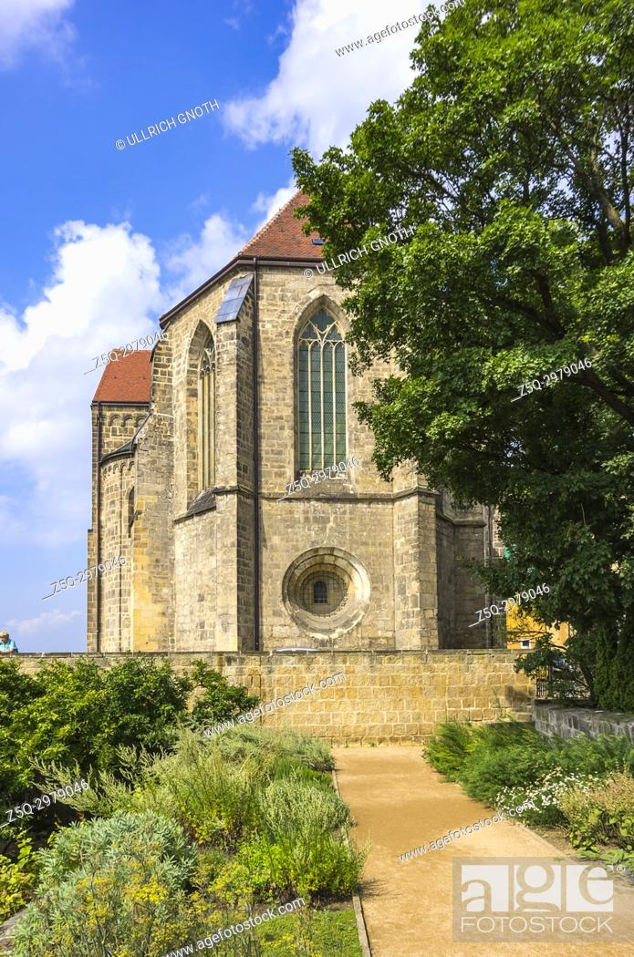 Stock Photo: The Collegiate Church of St. Servatius seen from the monastery gardens, Quedlinburg, Saxony-Anhalt, Germany.