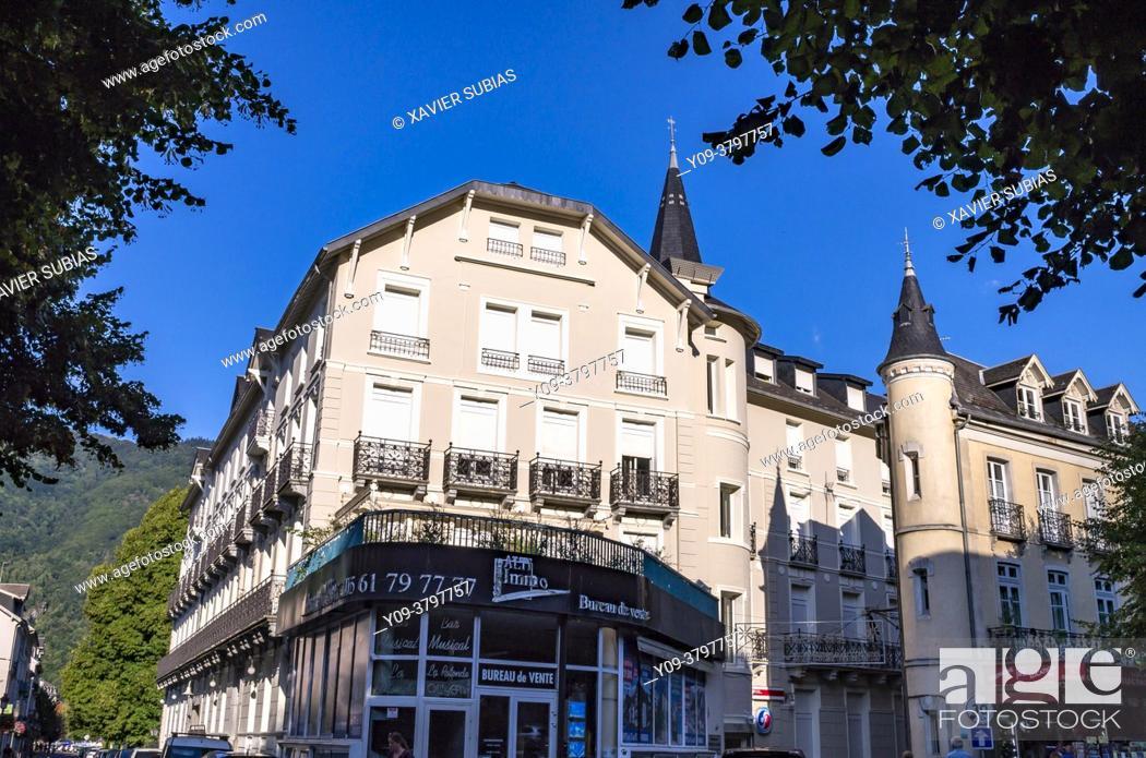Stock Photo: Buildings, Bagnères-de-Luchon, Haute-Garonne department, Occitanie, France.
