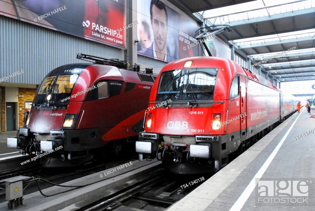 Stock Photo: Locomotive of the Austrian Federal Railways with snow on the front.