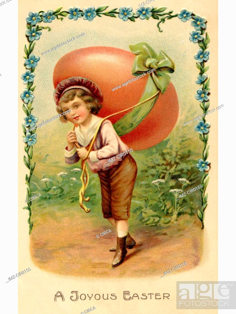 Stock Photo: A vintage Easter postcard of a child with a large egg on his back.