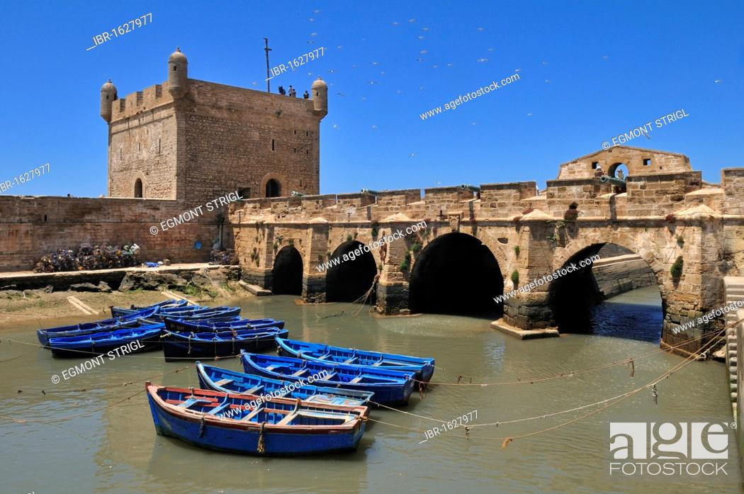 Stock Photo: Portuguese fortress in the historic town of Essaouira, Unesco World Heritage Site, Morocco, North Africa.