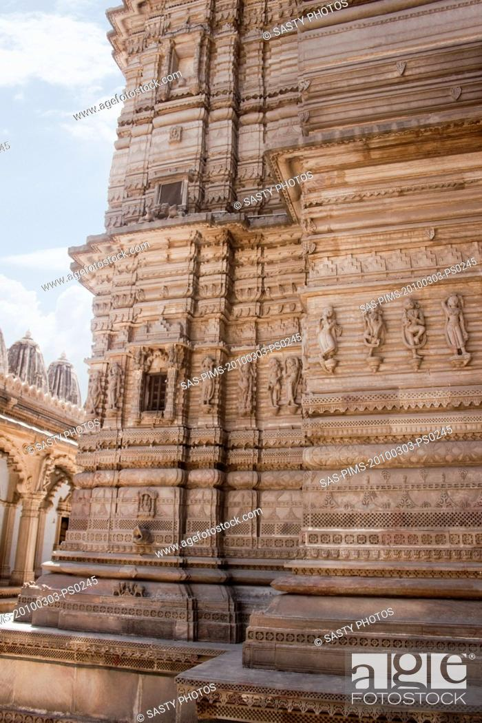 Stock Photo: Architectural details of a temple, Swaminarayan Akshardham Temple, Ahmedabad, Gujarat, India.