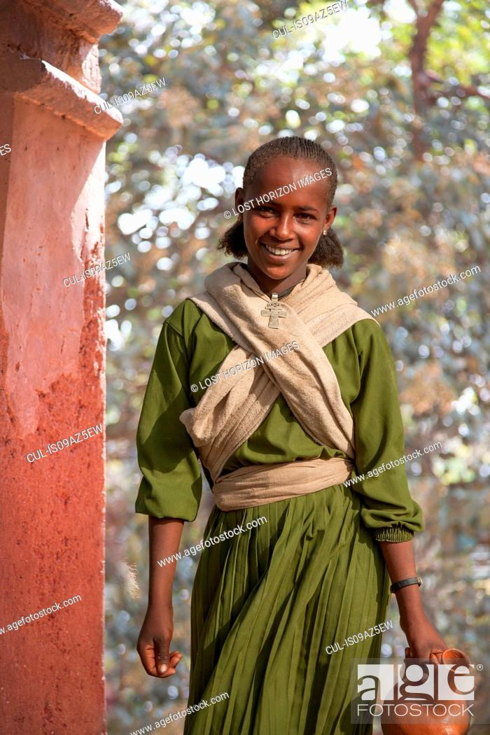 Stock Photo: Young girl during the Timkat Festival, Lalibela, Ethiopia.
