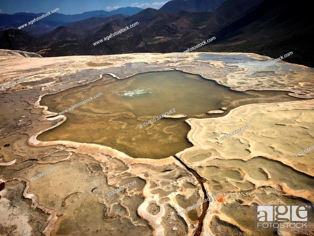 Stock Photo: Geological formations in Hierve el Agua in Oaxaca, Mexico.