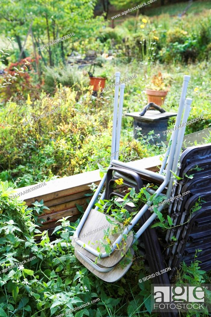 Stock Photo: Stack of chairs in overgrown garden.