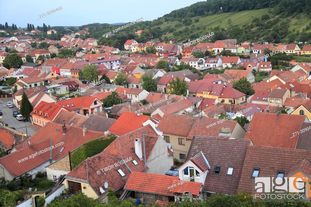 Stock Photo: Czech Republic, Moravia, Mikulov, general view, aerial view,.
