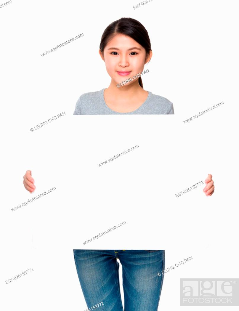 Stock Photo: Woman hold with blank of white placard.