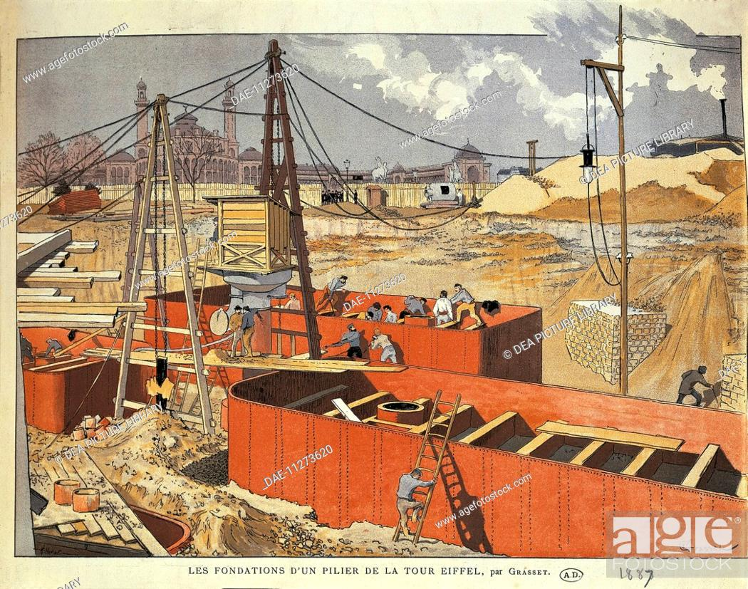 Stock Photo: France, 19 th century. Paris, laying the foundations for one of the columns of the Eiffel Tower. Engraving by Eugene Grasset, 1887.