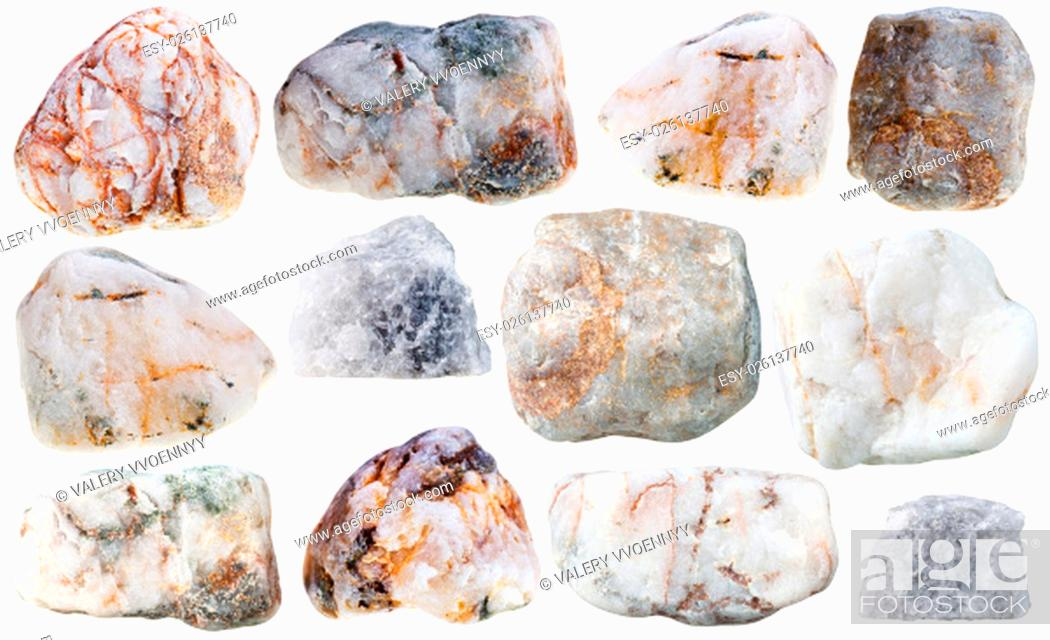 Stock Photo: macro shooting of collection natural rock - various marble natural mineral stones and rocks isolated on white background.