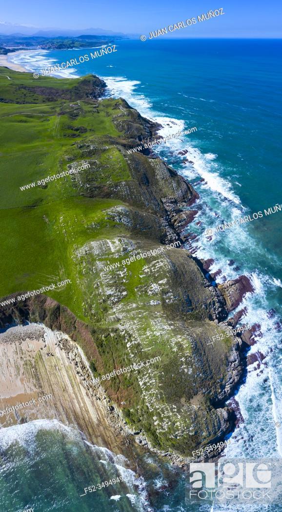 Stock Photo: Aerial view of Cabo de Oyambre, San Vicente de la Barquera, Cantabrian Sea, Cantabria, Spain, Europe.